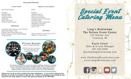 Special Event Catering Menu